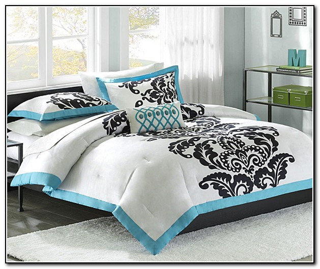 Black And White Bedding With Teal Accents