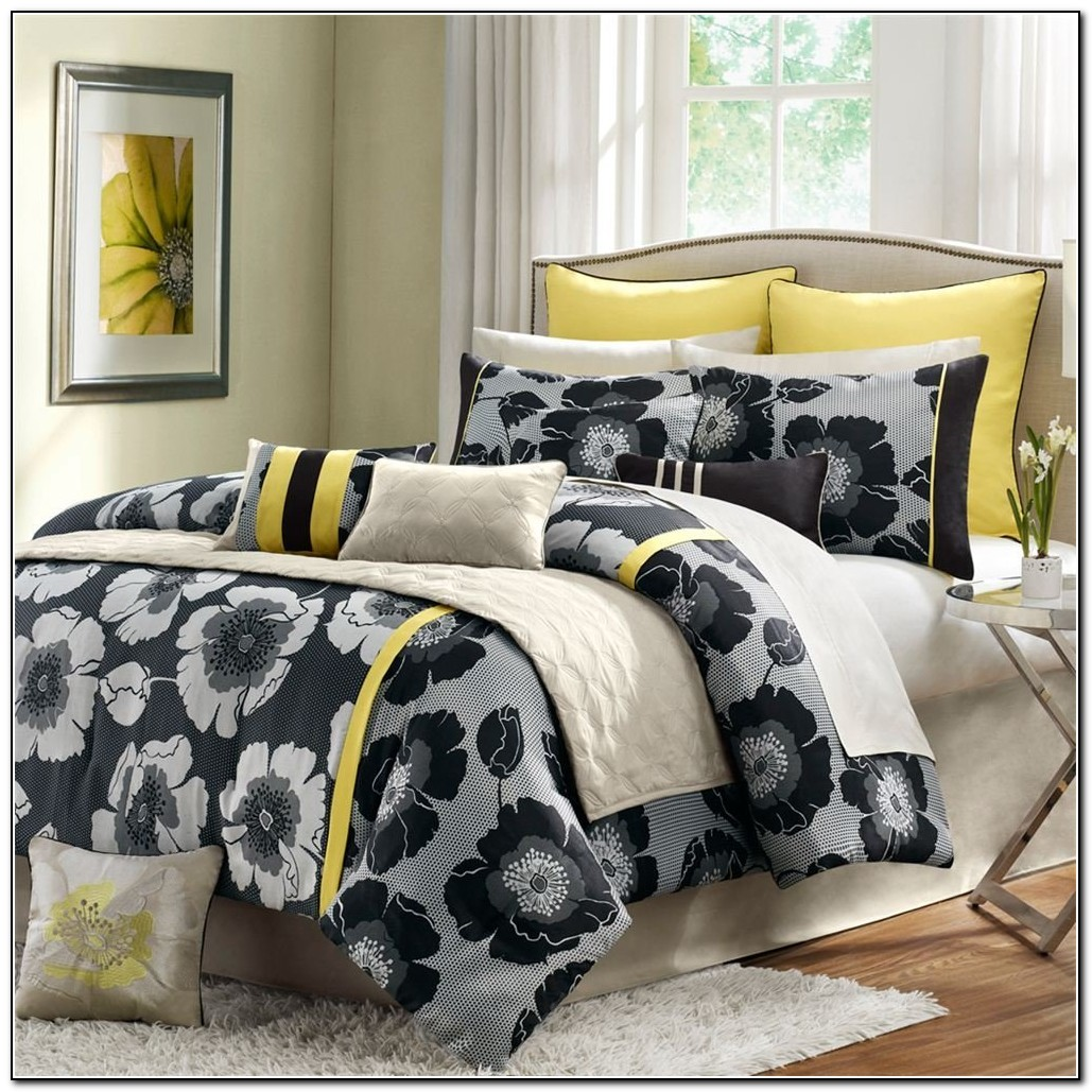 Black Yellow And Gray Bedding Beds Home Design Ideas