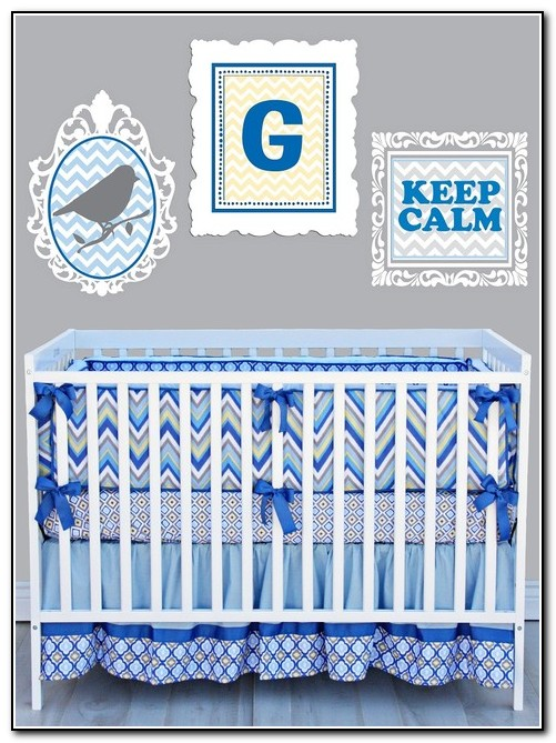 Blue Chevron Baby Bedding