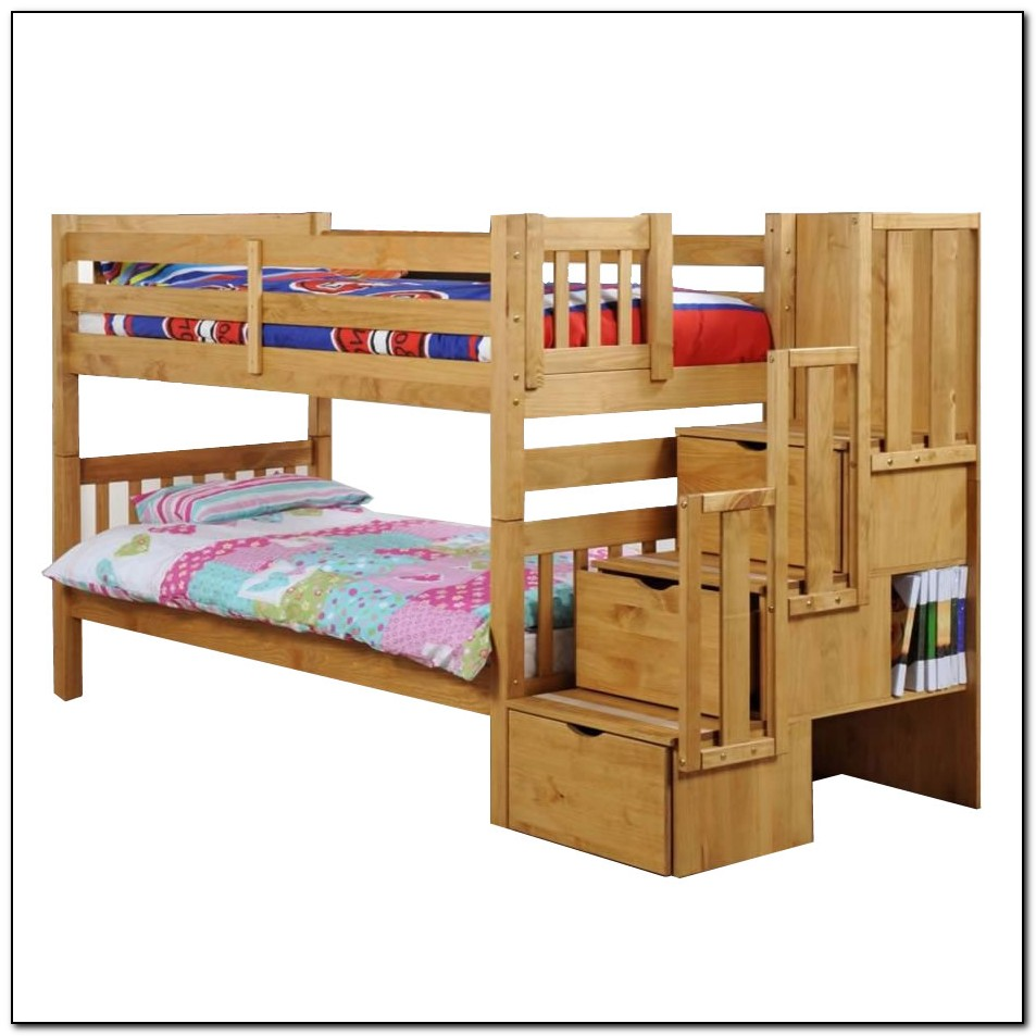 Bunk Bed With Trundle And Stairs Plans
