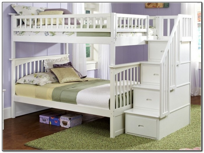 White Bunk Bed With Stairs Download Page Home Design