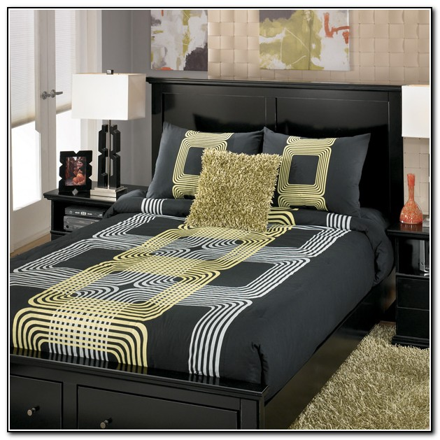 Dark Gray And Yellow Bedding