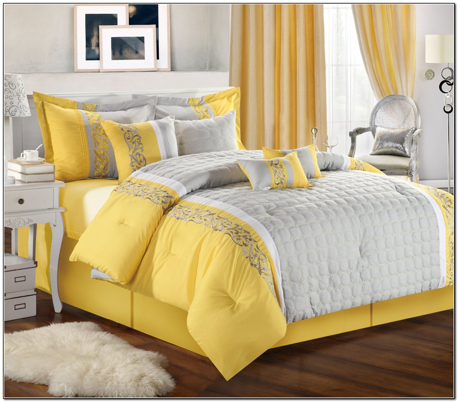 Grey And Yellow Bedding Sets Beds Home Design Ideas