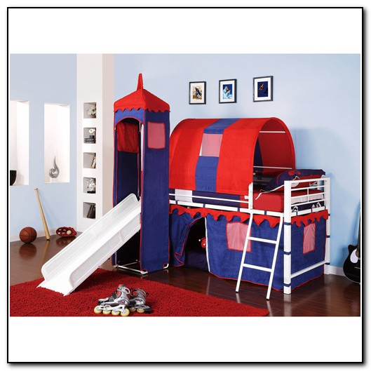 Kids Loft Bed With Slide And Tent