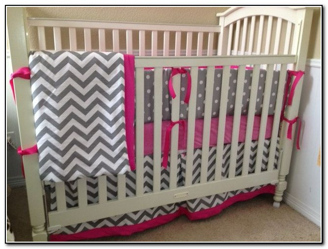 Pink Chevron Baby Bedding