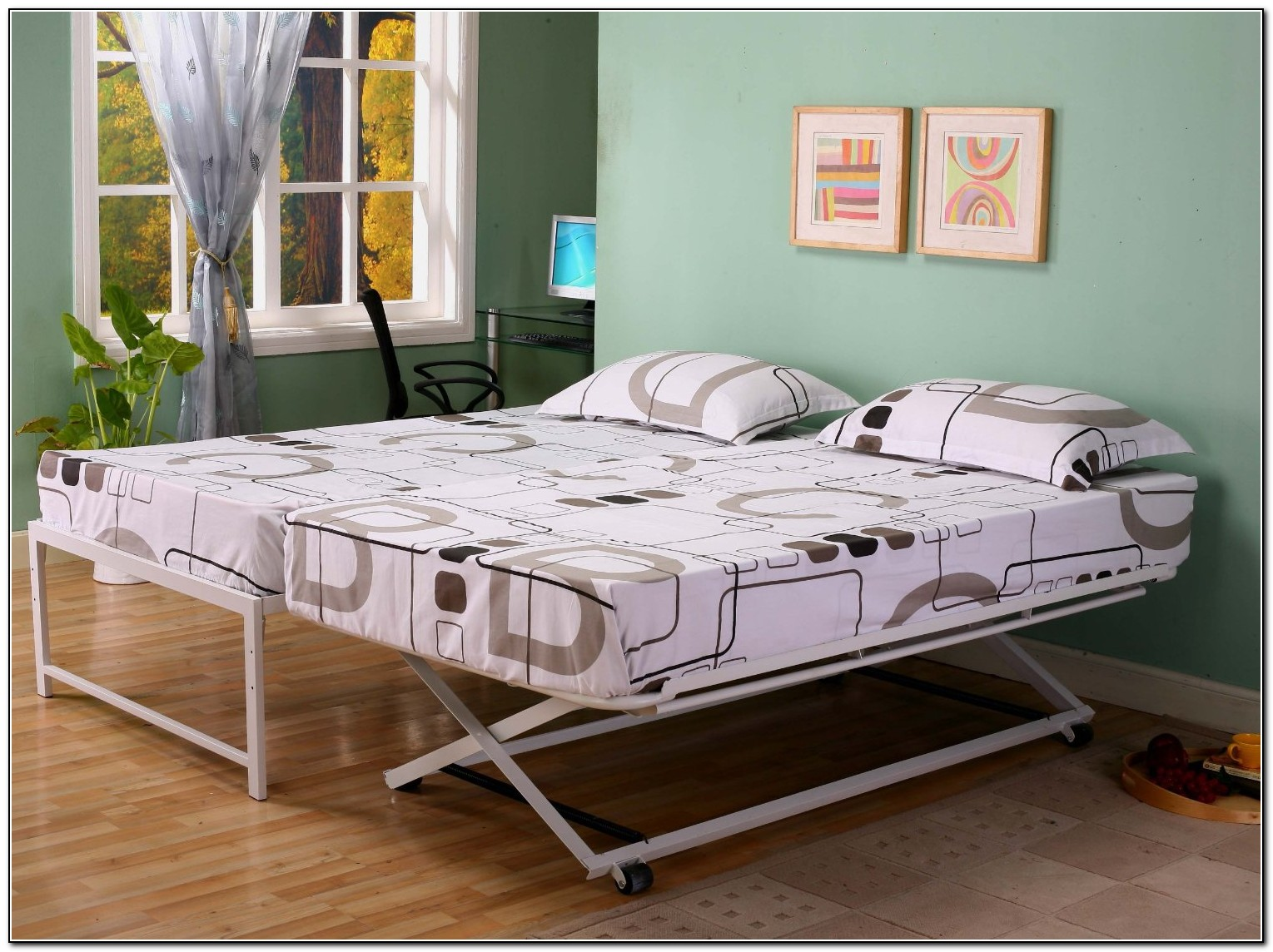 Pop up trundle bed ikea beds home design ideas for Trundle mattress ikea