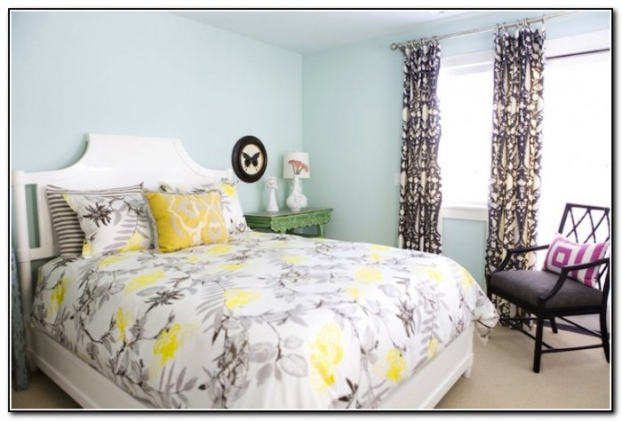 White Yellow And Gray Bedding