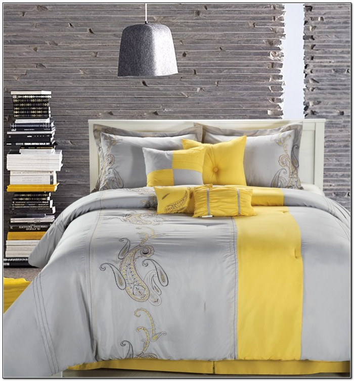 Yellow And Gray Bedding Set