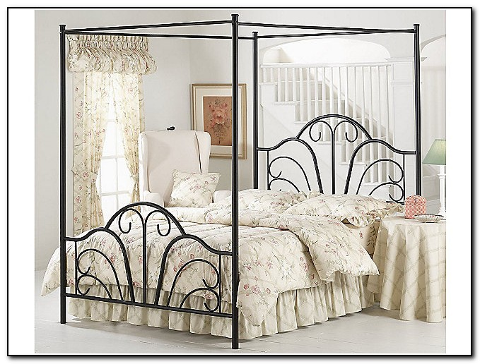 Black Queen Canopy Bed Frame