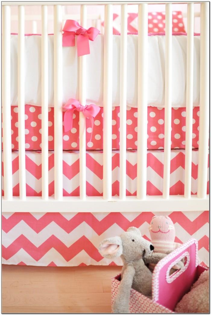 Chevron Crib Bedding Girl