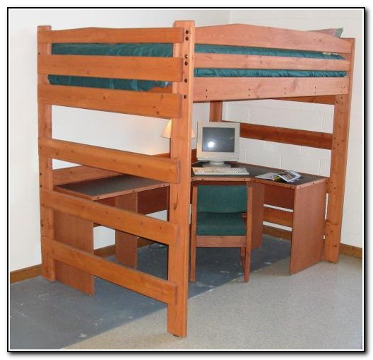 Wood loft bed with desk beds home design ideas Full size loft beds with desk
