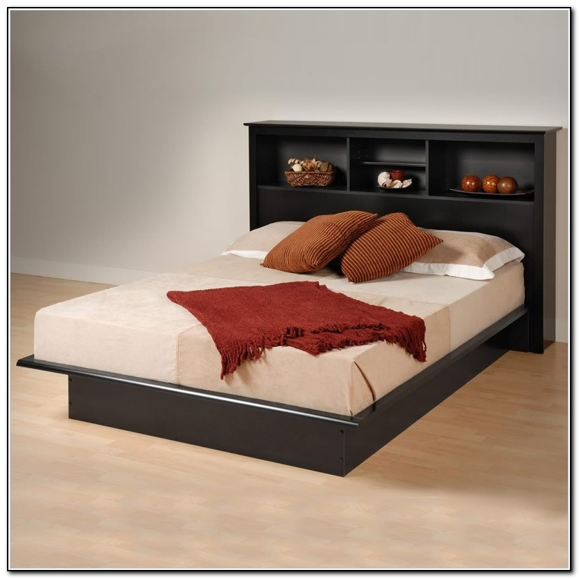 Full Size Platform Bed With Bookcase Headboard