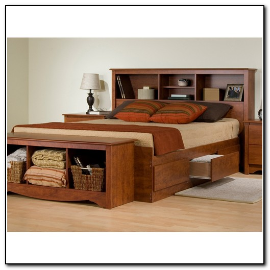 Platform Bed With Drawers And Bookcase Headboard