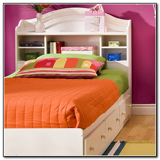 White Twin Captains Bed With Bookcase Headboard