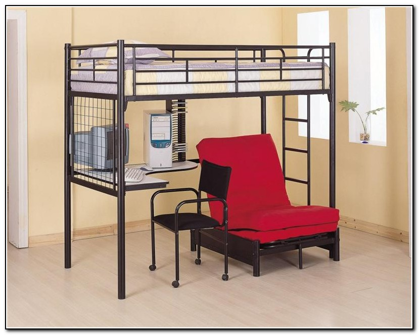 Metal Loft Bed With Desk And Chair Desk Home Design