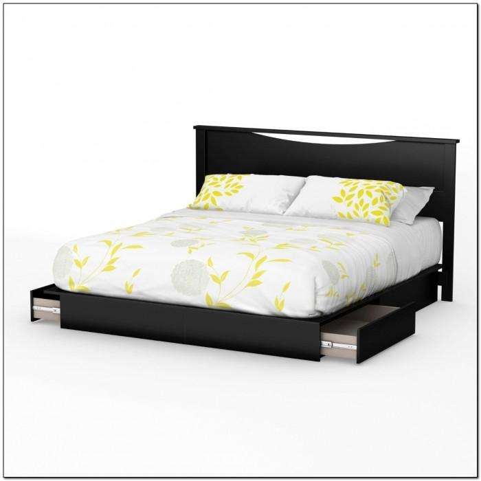 Black Platform Bed With Drawers