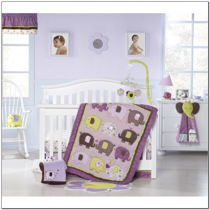 Purple Elephant Crib Bedding