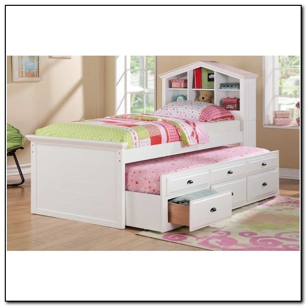White Trundle Bed With Bookcase