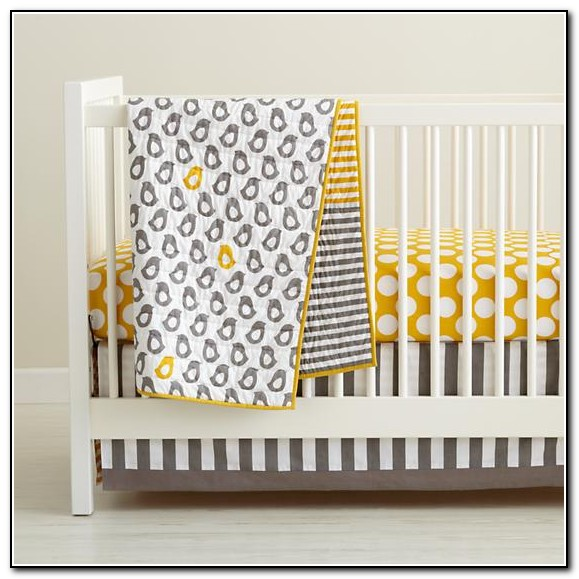 Yellow And Grey Elephant Crib Bedding