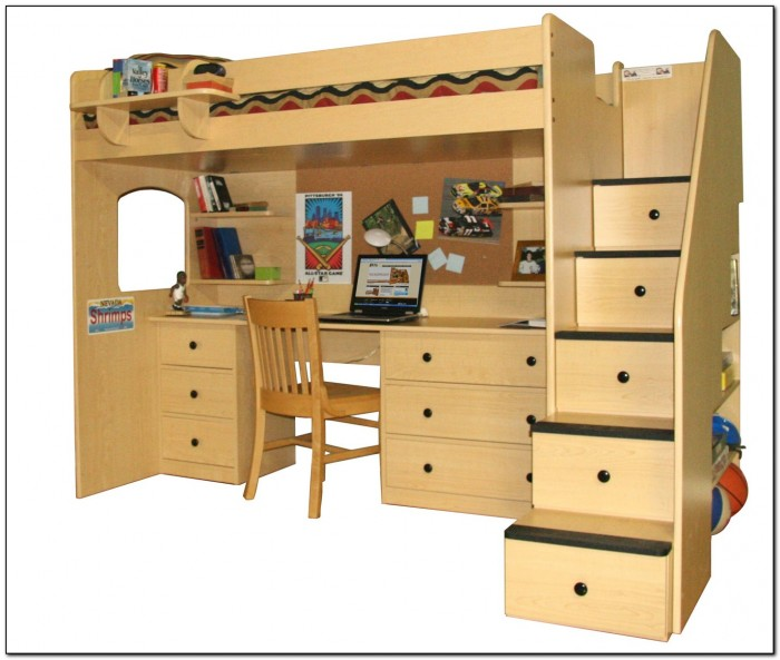Double Bunk Bed With Desk Underneath