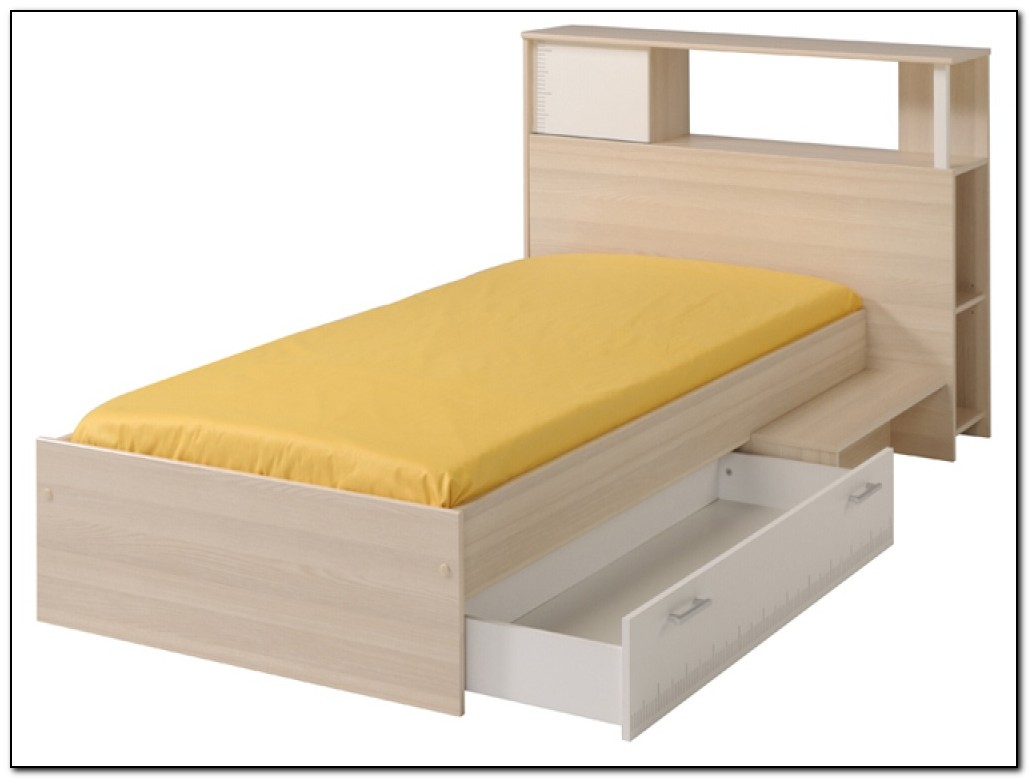 Single bed frame with storage beds home design ideas for Bed with mattress