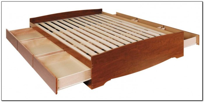 Solid Wood Platform Bed With Storage
