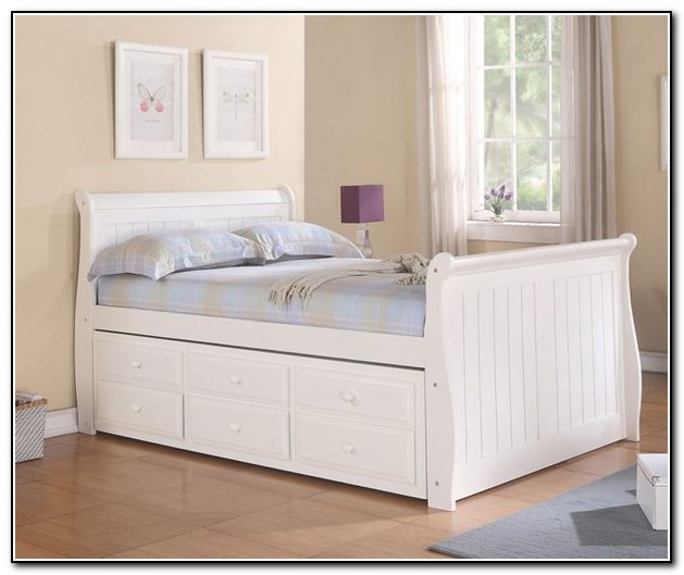 White Full Size Captains Bed