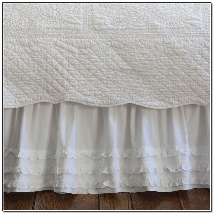 White Ruffled Bed Skirt