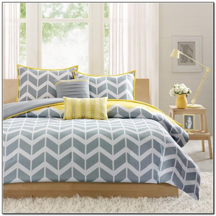 Yellow And Grey Chevron Bedding
