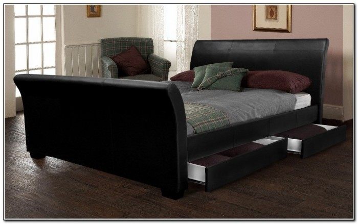 cabinet bed leather sleigh bed with drawers beds home design ideas 12762