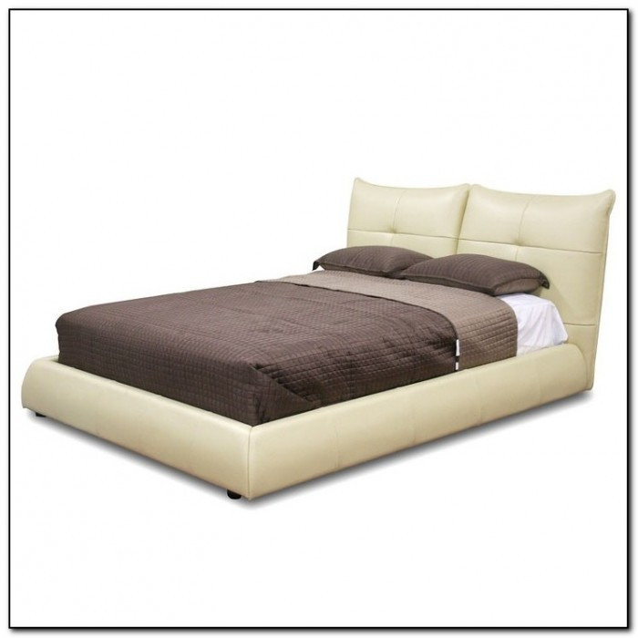 Cream Leather Bed Frame