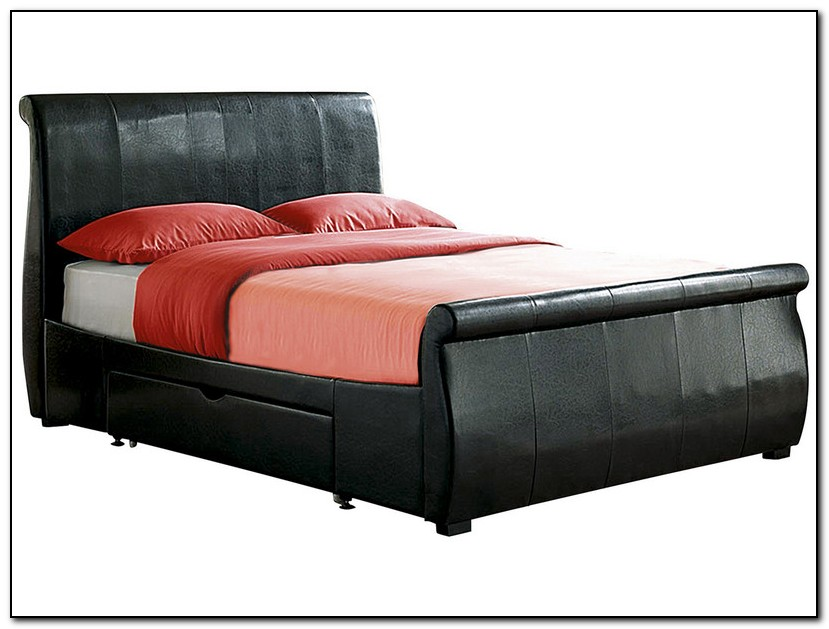 Leather sleigh bed with drawers download page home design ideas galleries home design ideas - Black leather bed with drawers ...