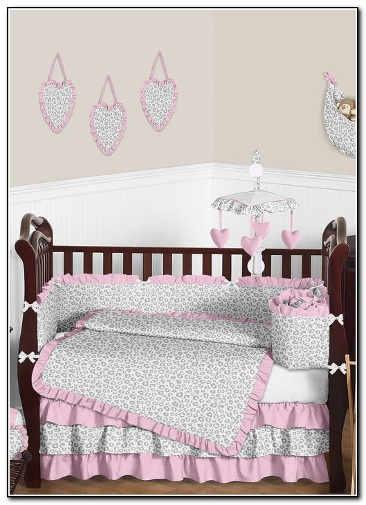 Light Pink And Gray Baby Bedding