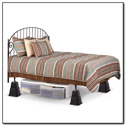 metal frame bed risers beds home design ideas
