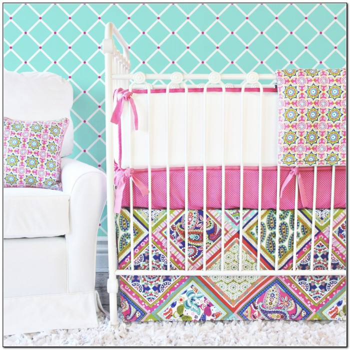 Pink And Green Paisley Baby Bedding