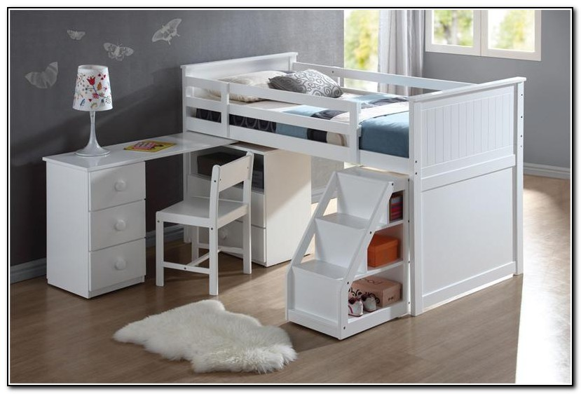 White Loft Bed With Desk Ikea Beds Home Design Ideas