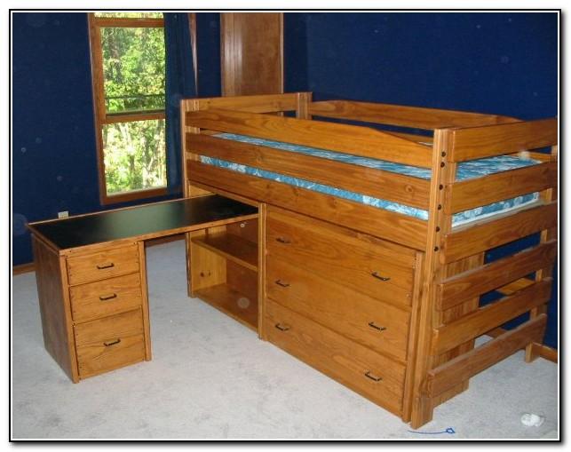 Wood Loft Bed With Desk And Dresser