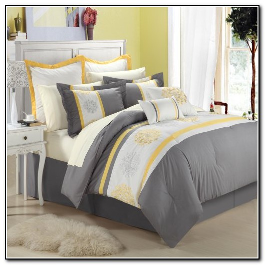 Gray and white bedding sets beds home design ideas - Gray and yellow bedding sets ...