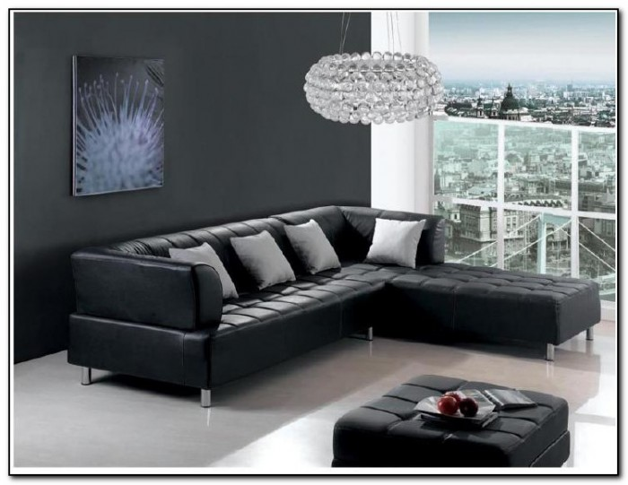 Black Leather Sofa Living Room Design