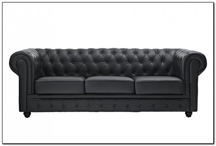 Black Tufted Leather Sofa