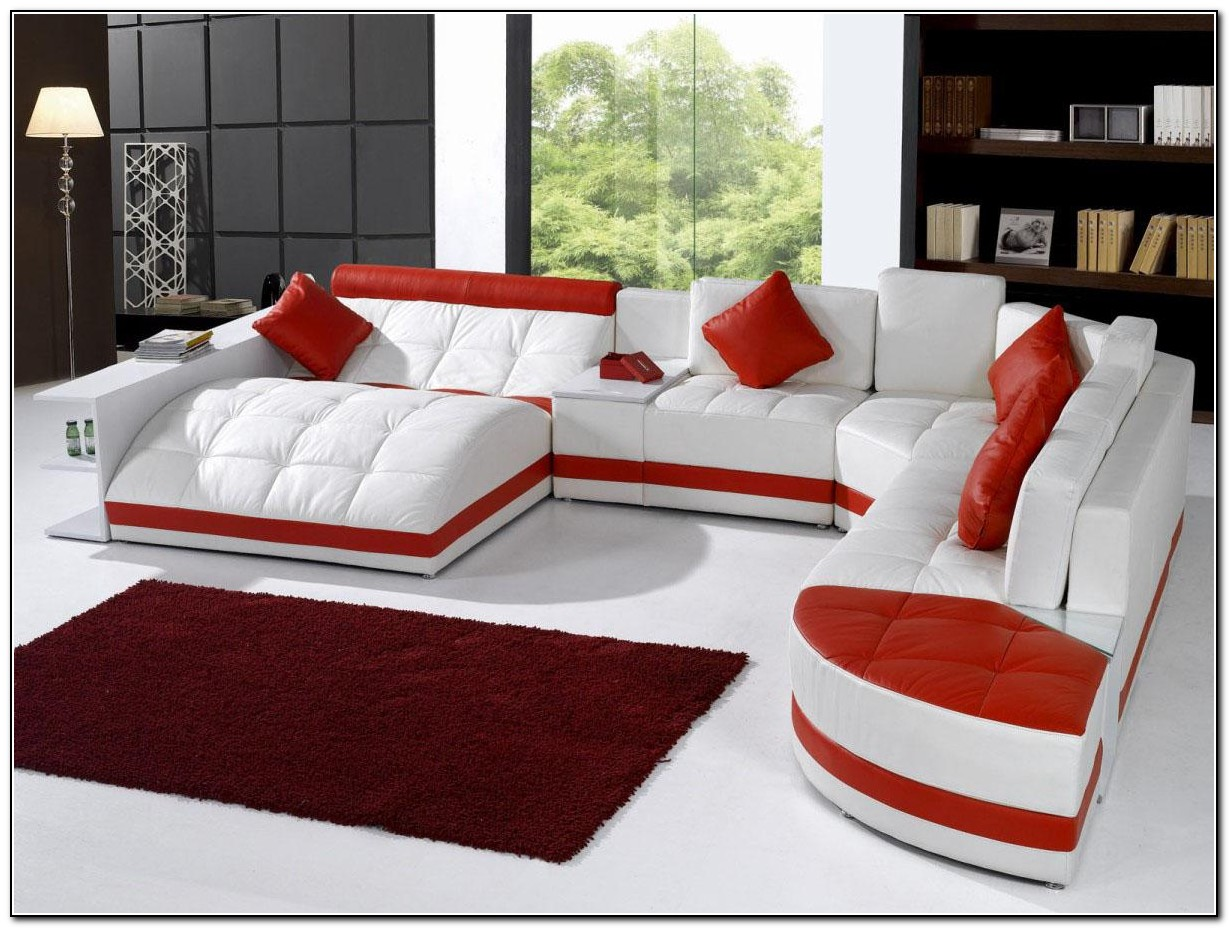 Red Leather Sofa Bed