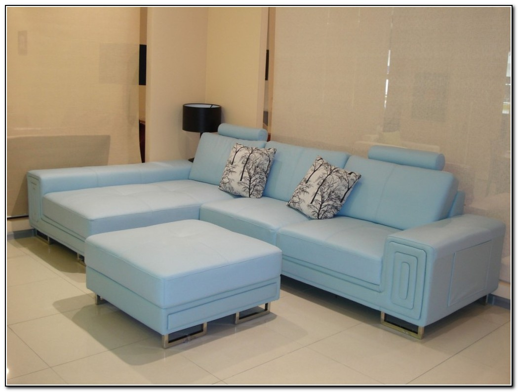Baby blue leather sofa sofa home design ideas for Blue leather sofa