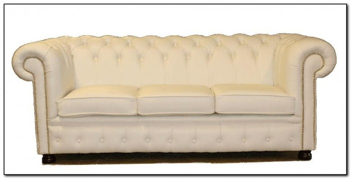 Cream Leather Chesterfield Sofa