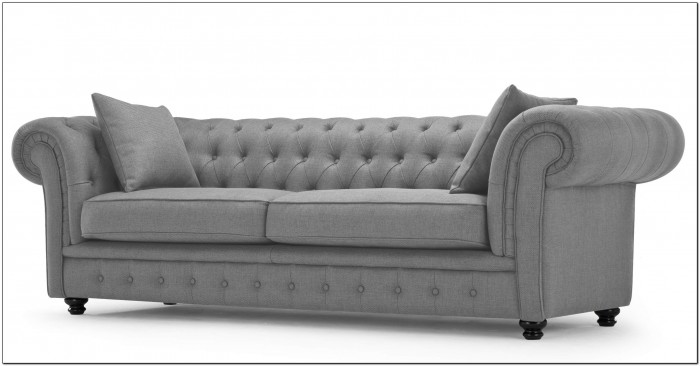Gray Leather Chesterfield Sofa