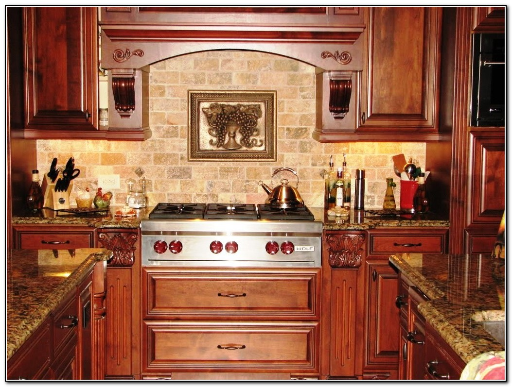 kitchen backsplash ideas with cherry cabinets kitchen