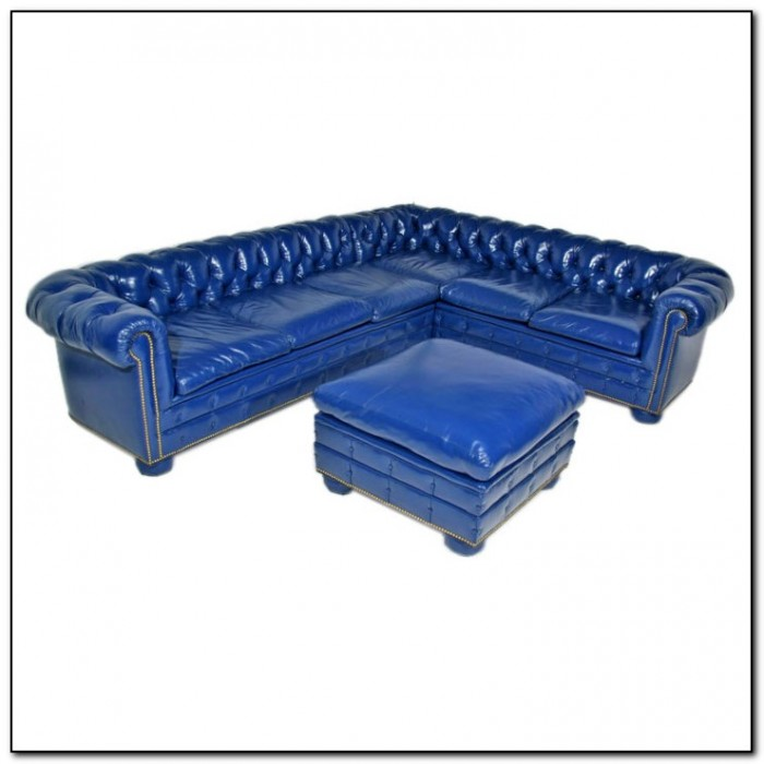 Royal Blue Leather Sofa