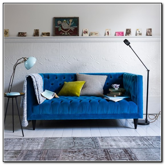 Royal Blue Velvet Sofa