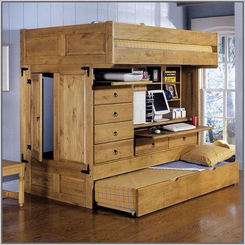 Full Loft Bed With Desk Wood Download Page Home Design