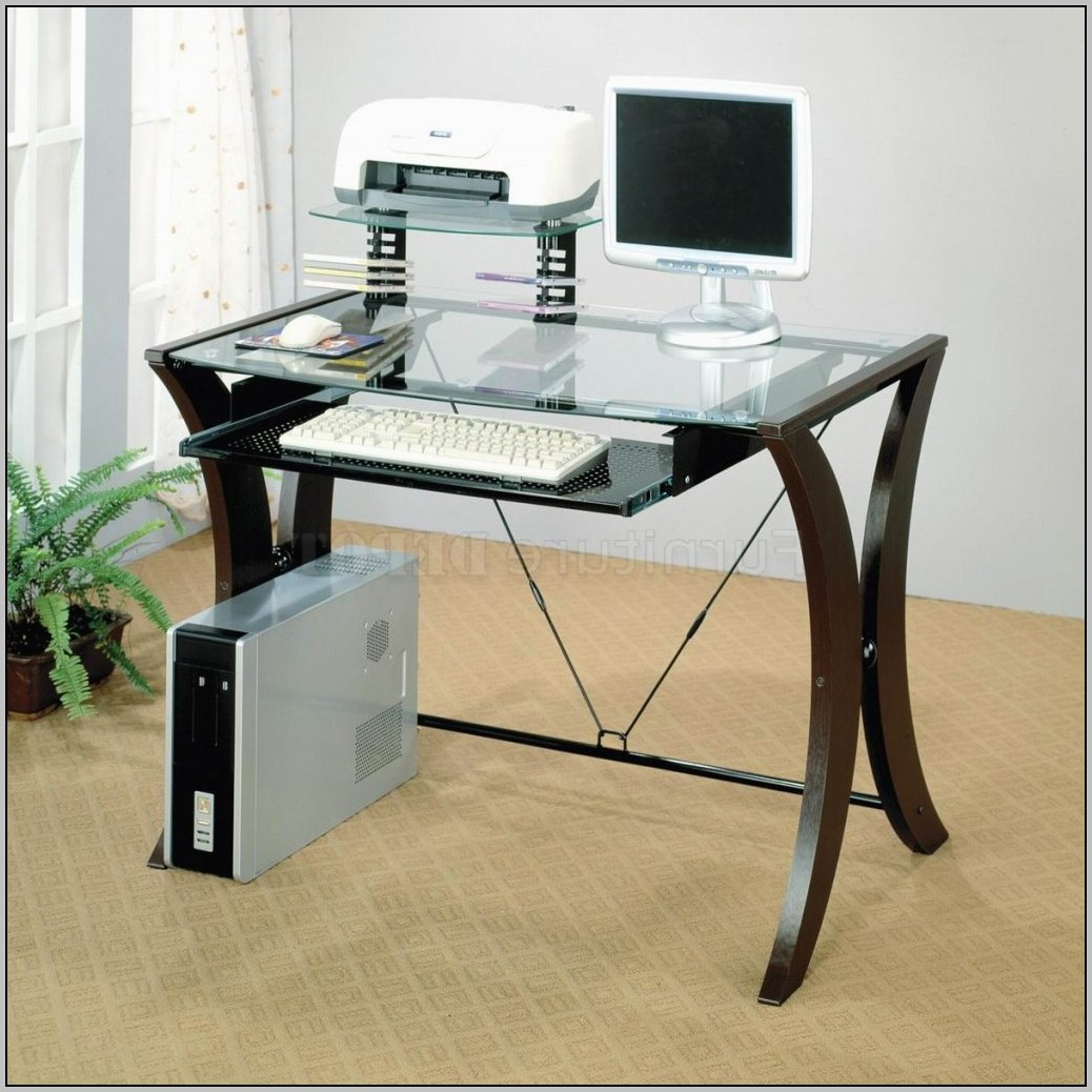 Glass computer desk office depot desk home design Designer glass computer desk