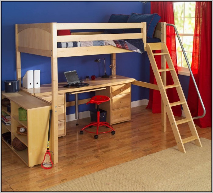 Loft Beds With Desk Underneath Wood